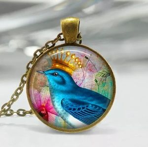 Bird With Crown Glass & Bronze Necklace